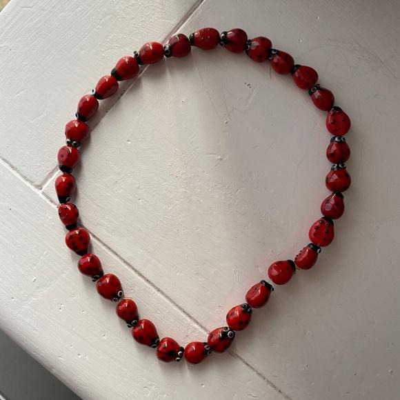 Lady bug necklace chocker trendy